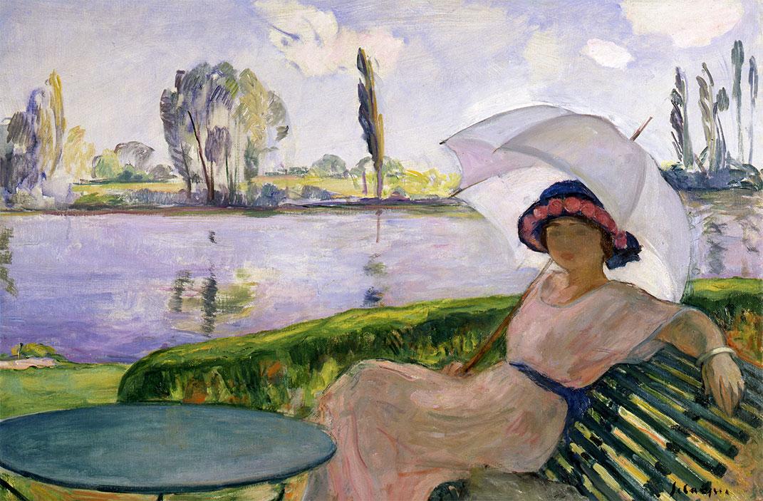 Henri LEBASQUE - Les Andelys, jeune femme à l'ombrelle au bord de l'eau, circa 1920