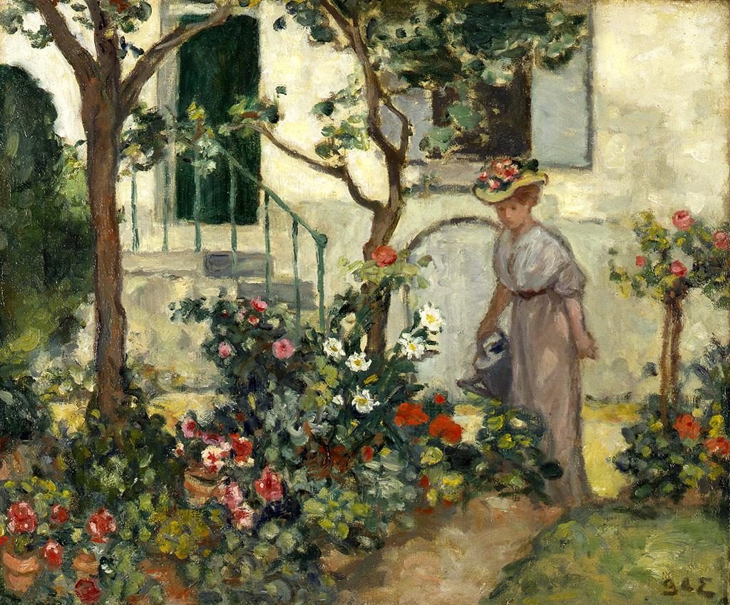 Femme arrosant des fleurs, vers 1907
