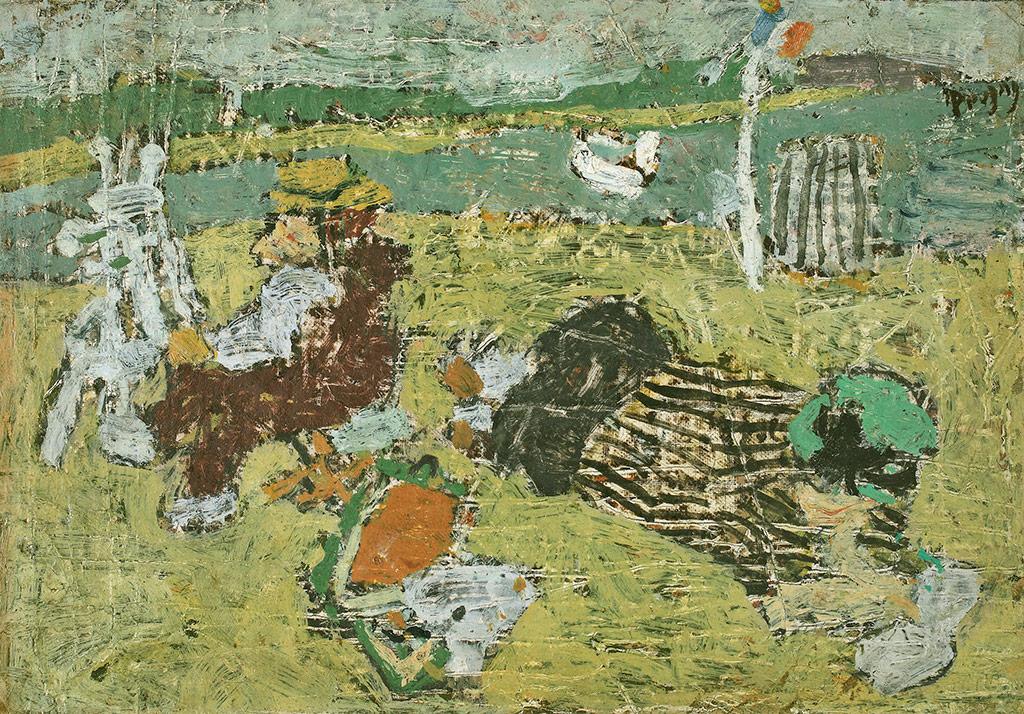 Peintre à la plage, 1950