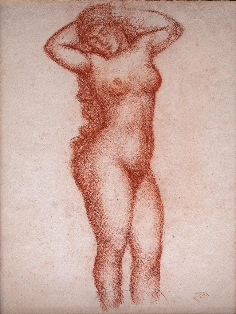 Femme nue debout de face, vers 1920