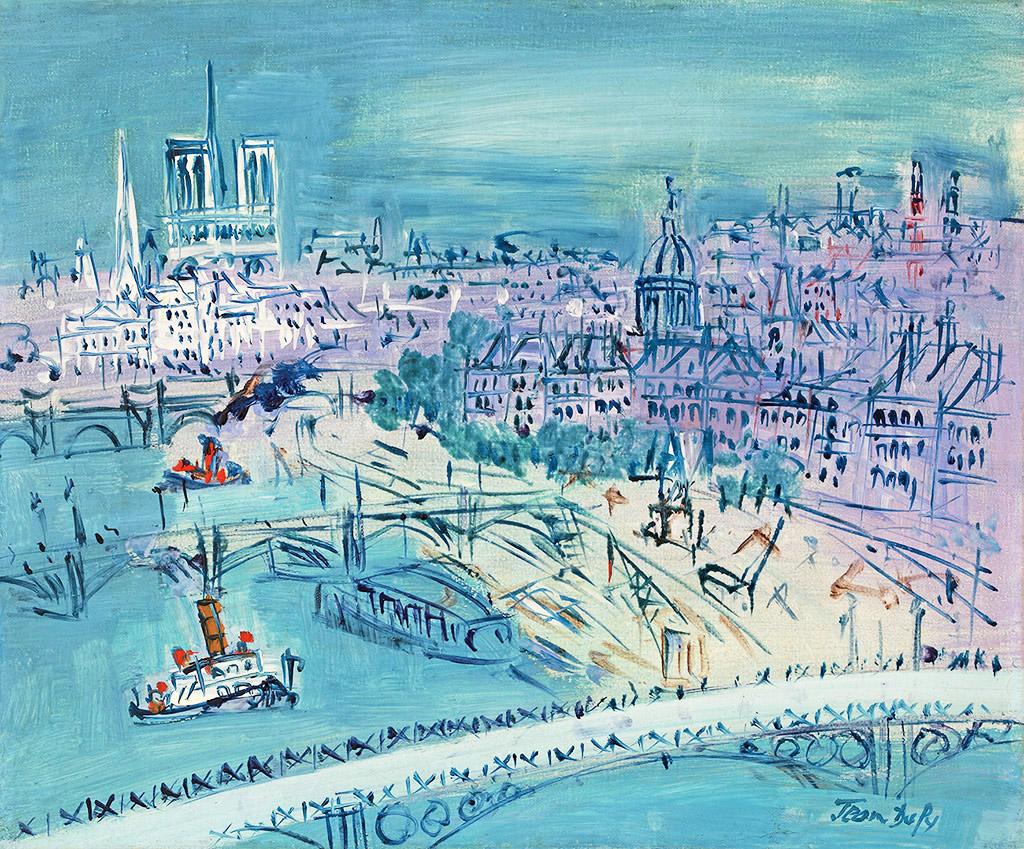 La Seine au pont du Carrousel, vers 1955