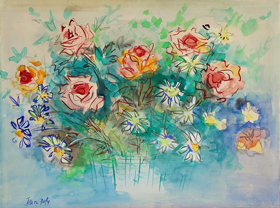 Bouquet de roses et de marguerites, vers 1947-49