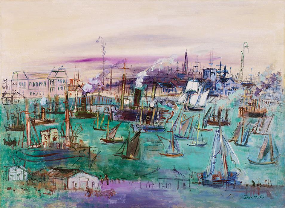 Le Havre, bassin de la Manche vu du quai de Southampton, vers 1935