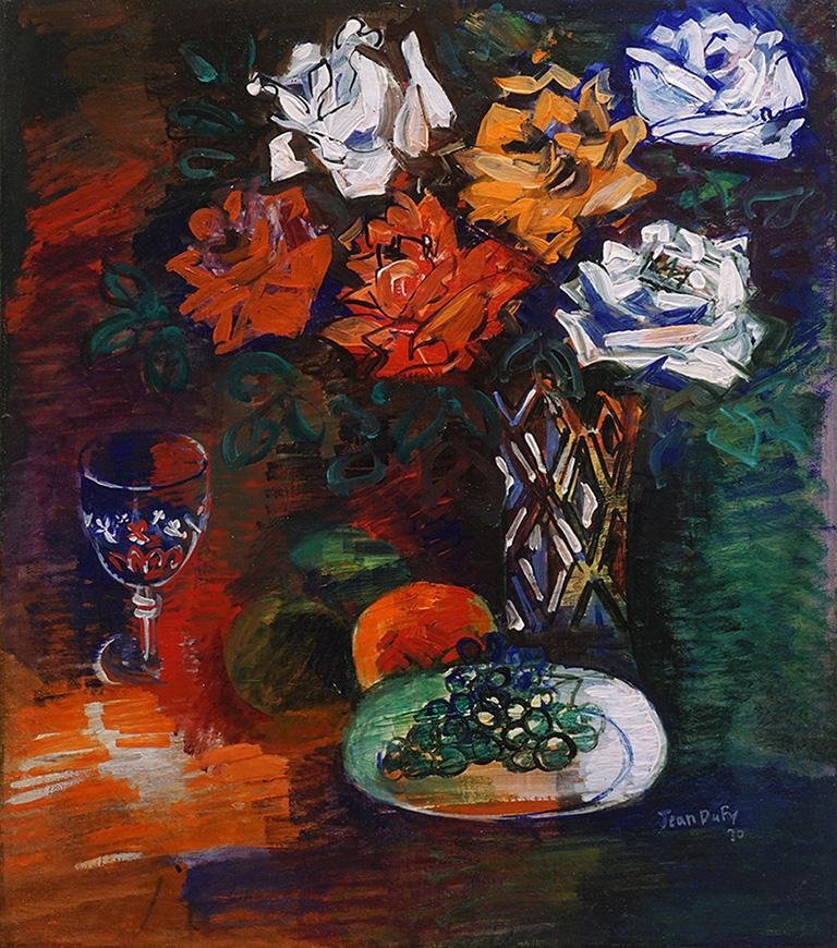 Assiette de raisins et bouquet de roses, 1930