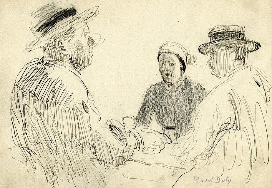 Trois personnages assis autour d'une table, vers 1902